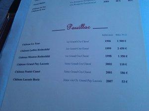 Carta de vinos en Burdeos