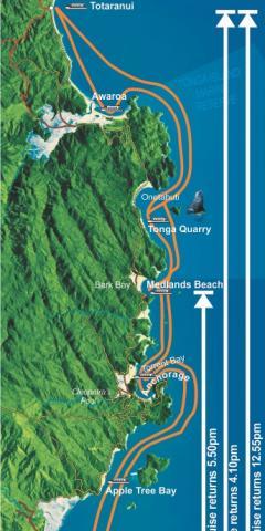 Horarios y paradas del taxi acuático en Abel Tasman. Fuente: abeltasman.co.nz