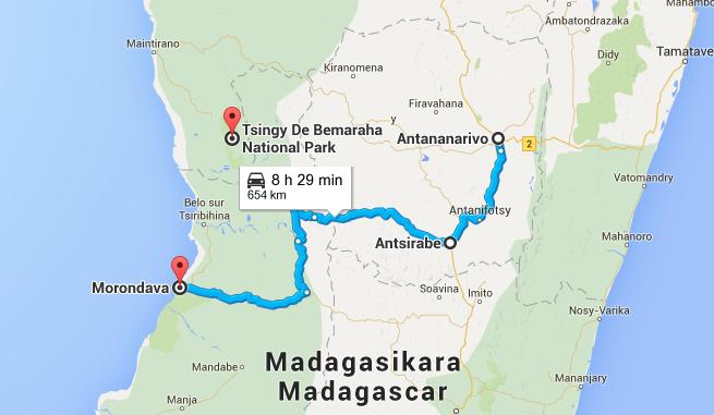 Mapa con el recorrido desde Antananarivo hasta Morondava y los Tsingy
