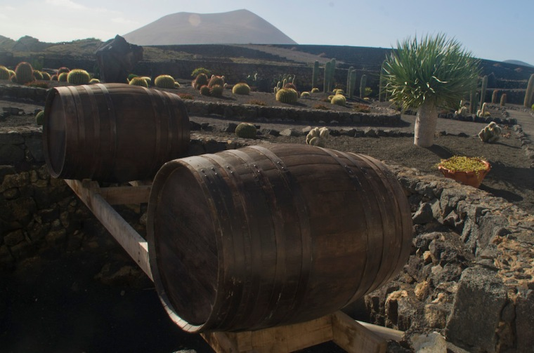 Toneles de vino como estos salen de la región de La Geria en Lanzarote