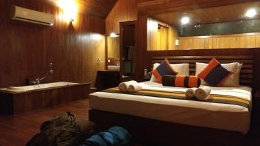 Hotel Sigirya Watter Cottage: toda la habitación de madera, con techos enormes y decorada con muy buen gusto