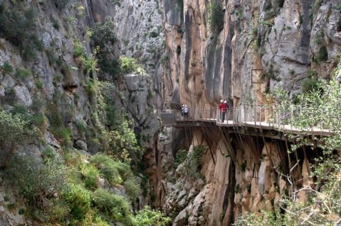 El primer tramo de pasarelas del Caminito del Rey discurre por el desfiladero del Gaitanejo