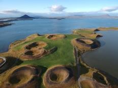 Pseudo cráteres Skutustadagigar en la orilla sur del lago Myvatn