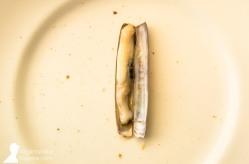 Comiendo navajas en Terraza de Chicolino, en A Pobra do Caramiñal
