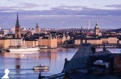 Vistas de Estocolmo desde Skinnarviksberget en la isla Södermalm