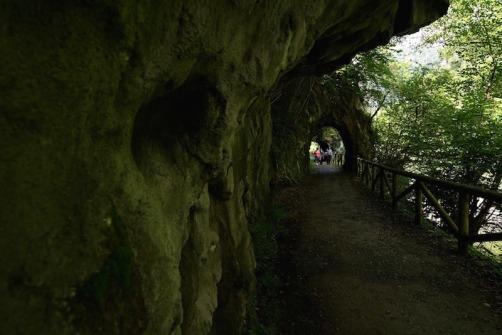 Durante el recorrido de la Senda del Oso hay muchos túneles excavados en la piedra